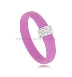 RING IN FUCHSIA RUBBER WITH CENTRAL WITH MICROSPHERES IN AG RHODIUM-PLATED TIT 925