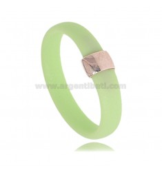 PASTEL GREEN RUBBER RING WITH CENTRAL IN AG GOLD PLATED TIT 925