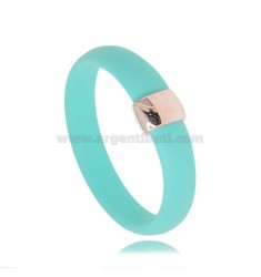 RING IN GREEN RUBBER TIFFANY WITH CENTRAL IN AG GOLD PLATED TIT 925