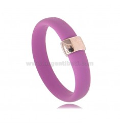 RING IN FUCHSIA RUBBER WITH CENTRAL IN AG ROSE GOLD PLATED TIT 925