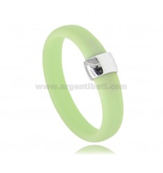 PASTEL GREEN RUBBER RING WITH CENTRAL IN AG RHODIUM TIT 925