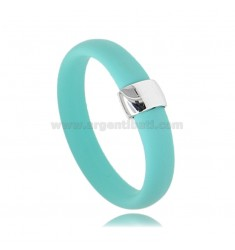 TIFFANY GREEN RUBBER RING WITH CENTRAL IN AG RHODIUM TIT 925