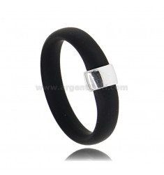 RING IN BLACK RUBBER WITH CENTRAL IN AG RHODIUM TIT 925