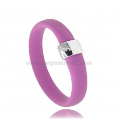 RING IN FUCHSIA RUBBER WITH CENTRAL IN AG RHODIUM TIT 925