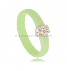 PASTEL GREEN RUBBER RING WITH CENTRAL IN AG ROSE GOLD PLATED WITH ZIRCONIA PAVE TIT 925
