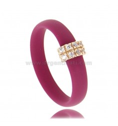 RING IN VINACCIA RUBBER WITH CENTRAL IN AG ROSE GOLD PLATED WITH ZIRCON PAVES TIT 925