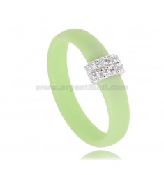 PASTEL GREEN RUBBER RING WITH CENTRAL IN AG RHODIUM-PLATED WITH PAVE OF ZIRCONIA TIT 925