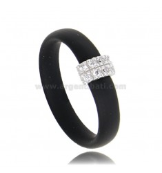 RING IN BLACK RUBBER WITH CENTRAL IN AG RHODIUM-PLATED WITH PAVE OF ZIRCONIA TIT 925