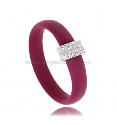 RUBBER RUBBER RING WITH CENTRAL IN AG RHODIUM-PLATED WITH PAVE OF ZIRCONS TIT 925