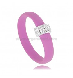 RING IN FUCHSIA RUBBER WITH CENTRAL IN AG RHODIUM-PLATED WITH PAVE OF ZIRCONIA TIT 925