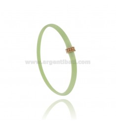 PASTEL GREEN RUBBER BRACELET WITH CENTRAL MICRO BALLS IN AG ROSE GOLD PLATED TIT 925 CM 20