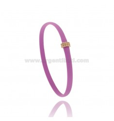 RUBBER BRACELET FUCHSIA WITH CENTRAL MICRO BALLS IN AG ROSE GOLD PLATED TIT 925 CM 20