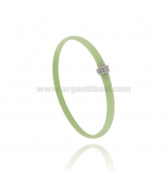 PASTEL GREEN RUBBER BRACELET WITH CENTRAL MICRO BALLS IN AG RHODIUM TIT 925 CM 20