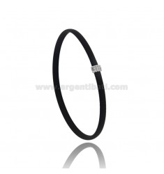 BRACELET IN BLACK RUBBER WITH CENTRAL A MICRO BALLS IN AG RHODIUM-PLATED TIT 925 CM 20