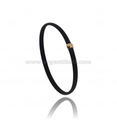 BRACELET IN BLACK RUBBER WITH CENTRAL IN AG ROSE GOLD PLATED TIT 925 CM 20