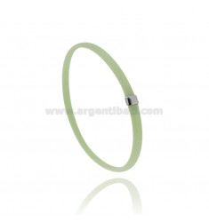 PASTEL GREEN RUBBER BRACELET WITH CENTRAL IN AG RHODIUM TIT 925 CM 20