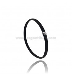 BRACELET IN BLACK RUBBER WITH CENTRAL IN AG RHODIUM TIT 925 CM 20