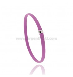 BRACELET IN RUBBER FUCHSIA WITH CENTRAL IN AG RHODIUM TIT 925 CM 20