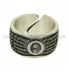 AVE MARIA REGOLBILE 12 MM RING IN SILVER BRUNITO TIT 925 SIZE 12 TO 16 REGOLABILEDA