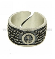 AVE MARIA REGOLBILE 12 MM RING IN SILVER BRUNITO TIT 925 SIZE ADJUSTABLE FROM 17 TO 22