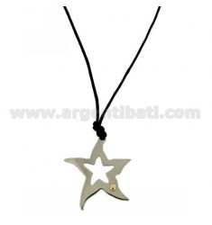 STAR SHAPED PENDANT STEEL 28X28 MM THROUGH WITH POINT Bilamina BRASS AND GOLD SILK WITH NECKSTRAP CERATA
