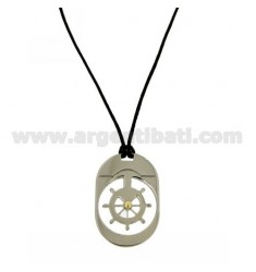 PENDANT OVAL WITH HELM TRAFORATO 32x22 MM STEEL WITH POINT Bilamina BRASS AND GOLD WITH LACE SILK CERATA