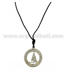 NECKLACE WITH ROUND WINDSURF TRAFORATO 27X24 MM STEEL WITH POINT Bilamina BRASS AND GOLD WITH LACE SILK CERATA