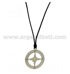 CHARM ROUND WITH WIND ROSE 27X24 MM STEEL WITH POINT Bilamina BRASS AND GOLD WITH LACE SILK CERATA