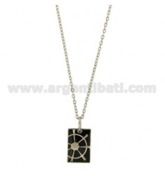 PENDANT RECTANGULAR STEEL 20X12 MM WITH BLACK NAIL POLISH AND RUDDER CABLE WITH CHAIN 50 CM