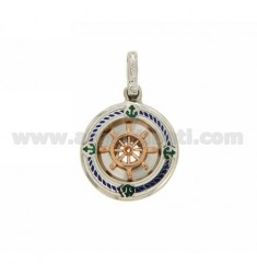 HELM WITH ROUND PENDANT IN SILVER AND ENAMEL 925 ‰