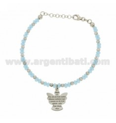 BRACELET WITH STONES HYDROTHERMAL faceted CELESTE WITH ALTERNATE BALLS AND ANGEL PRAYER IN CENTRAL AG RODIATO TIT 925