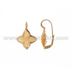 FLOWER EARRING Monachella 4 POINTS WITH ORANGE PEARL STONE HYDROTHERMAL 6P SILVER ROSE GOLD PLATED TIT 925 ‰