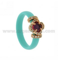 RUBBER RING IN &39GREEN FLOWER TIFFANY WITH APPLICATION IN ROSE GOLD PLATED AG TIT 925 ‰, ZIRCONS HYDROTHERMAL VARIOUS COLORS
