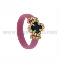RUBBER RING &39APPLICATION WITH PINK FLOWER IN PINK GOLD PLATED AG TIT 925 ‰, ZIRCONS HYDROTHERMAL VARIOUS COLORS AND STONES