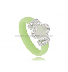 PASTEL GREEN RUBBER RING WITH FLOWER APPLICATION IN AG RHODIUM TIT 925 ‰, ZIRCONS AND HYDROTHERMAL STONES VARIOUS COLORS