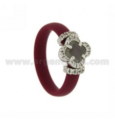 RUBBER RING &39MARC BY APPLICATION AG RHODIUM FLOWER IN TIT 925 ‰, ZIRCONS HYDROTHERMAL VARIOUS COLORS AND STONES