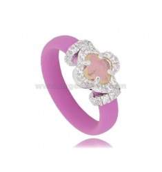 RING IN FUCHSIA RUBBER WITH FLOWER APPLICATION IN AG RHODIUM TIT 925 ‰, ZIRCONS AND HYDROTHERMAL STONES VARIOUS COLORS