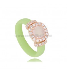 PASTEL GREEN RUBBER RING WITH SQUARE APPLICATION IN AG ROSE GOLD PLATED TIT 925 ‰, ZIRCONS AND HYDROTHERMAL STONES VARIOUS COLOR