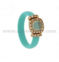 RUBBER RING IN &39GREEN WITH APPLICATION TIFFANY ROSE GOLD PLATED SQUARE AG TIT 925 ‰, ZIRCONS HYDROTHERMAL VARIOUS COLORS AND