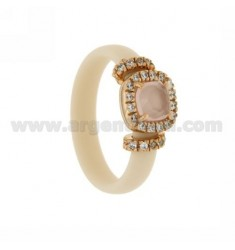 RUBBER RING &39APPLICATION WITH IVORY ROSE GOLD PLATED SQUARE AG TIT 925 ‰, ZIRCONS HYDROTHERMAL VARIOUS COLORS AND STONES