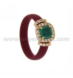 RUBBER RING &39MARC BY APPLICATION ROSE GOLD PLATED SQUARE AG TIT 925 ‰, ZIRCONS HYDROTHERMAL VARIOUS COLORS AND STONES