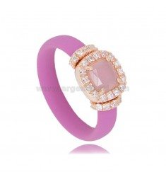RING IN FUCHSIA RUBBER WITH SQUARE APPLICATION IN AG ROSE GOLD PLATED TIT 925 ‰, ZIRCONIA AND HYDROTHERMAL STONES VARIOUS COLORS