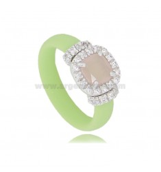 PASTEL GREEN RUBBER RING WITH SQUARE APPLICATION IN AG RHODIUM TIT 925 ‰, ZIRCONS AND HYDROTHERMAL STONES VARIOUS COLORS