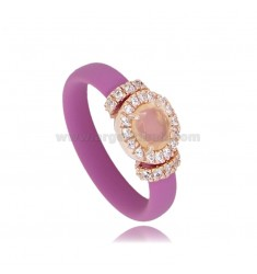 RING IN FUCHSIA RUBBER WITH ROUND APPLICATION IN AG ROSE GOLD PLATED TIT 925 ‰, ZIRCONS AND HYDROTHERMAL STONES VARIOUS COLORS
