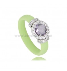 PASTEL GREEN RUBBER RING WITH ROUND APPLICATION IN AG RHODIUM TIT 925 ‰, ZIRCONS AND HYDROTHERMAL STONES VARIOUS COLORS