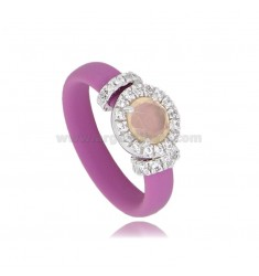 RING IN FUCHSIA RUBBER WITH ROUND APPLICATION IN AG RHODIUM TIT 925 ‰, ZIRCONS AND HYDROTHERMAL STONES VARIOUS COLORS