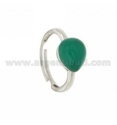 HYDROTHERMAL STONE RING WITH A DROP IN 40 MM 1 EMERALD GREEN AG 925 SIZE ADJUSTABLE RHODIUM TIT