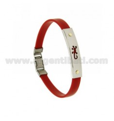 RED RUBBER BRACELET WITH PERFORATED JECO PLATE IN STEEL WITH BILAMINE BRASS AND GOLD VITINS