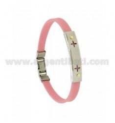 PINK RUBBER BRACELET WITH PERFORATED PLATE SPARKLES IN STEEL WITH BILAMINE BRASS AND GOLD VITINS