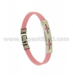 PINK RUBBER BRACELET WITH PERFORATED PLATE LARGE STEEL SPARKLES WITH BILAMINE BRASS AND GOLD VITINES